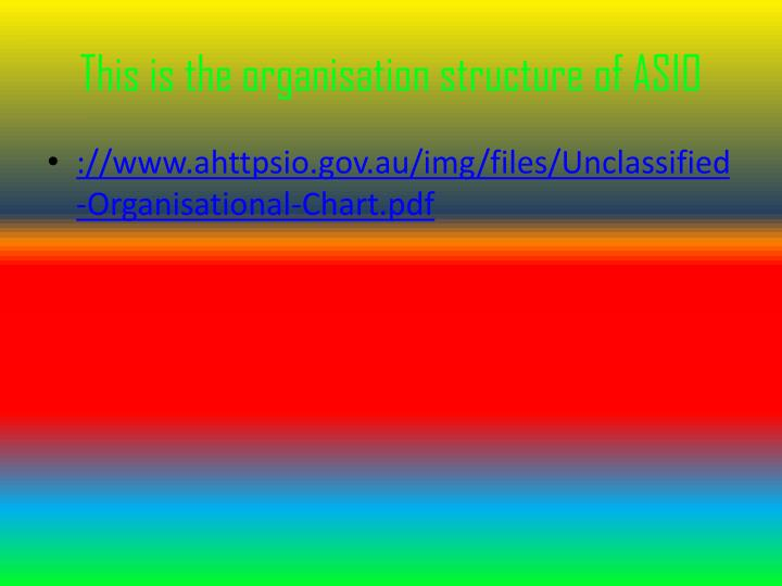 This is the organisation structure of ASIO