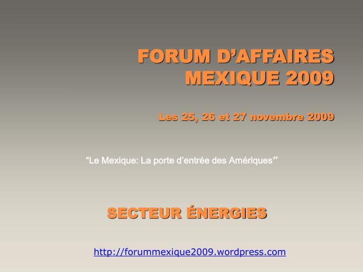 FORUM D'AFFAIRES