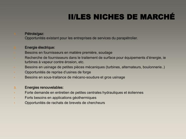 II/LES NICHES DE MARCHÉ