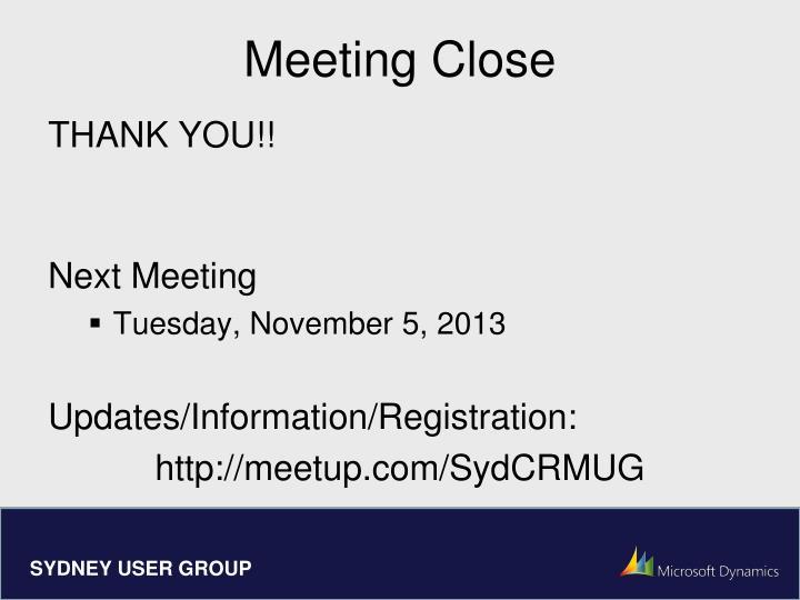 Meeting Close