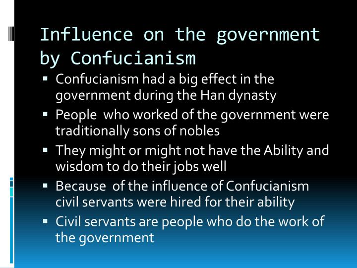 Influence on the government by Confucianism