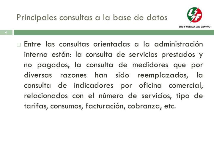 Principales consultas a la base de datos