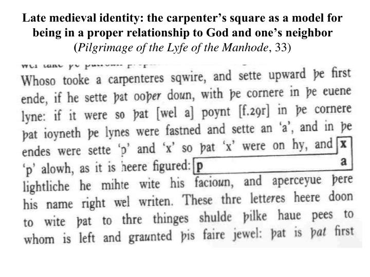 Late medieval identity: the carpenter's square as a model for