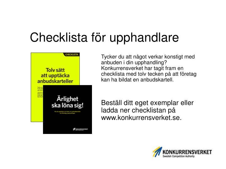 Checklista för upphandlare