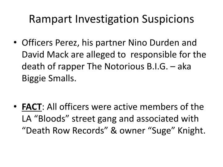 Rampart Investigation Suspicions