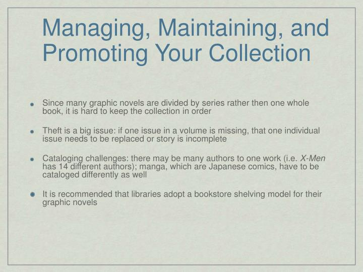 Managing, Maintaining, and Promoting Your Collection