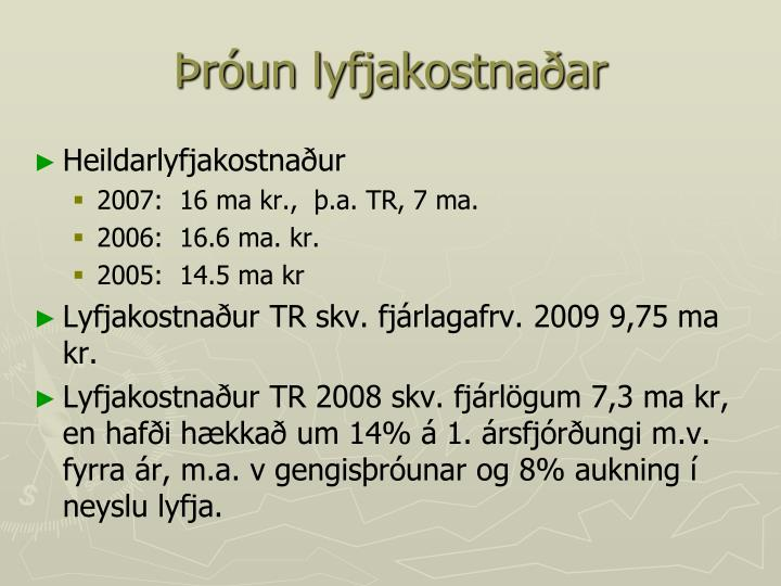 Þróun lyfjakostnaðar