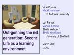 out genning the net generation second life as a learning environment