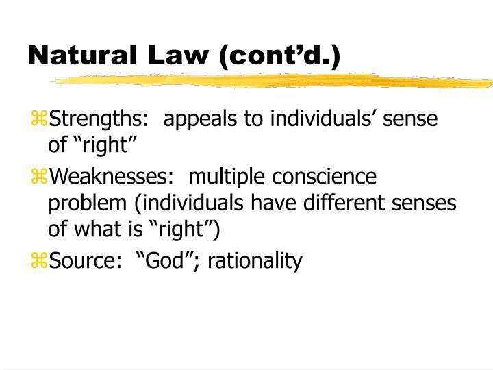Natural Law (cont'd.)