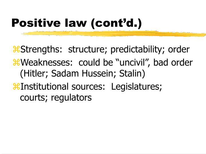 Positive law (cont'd.)