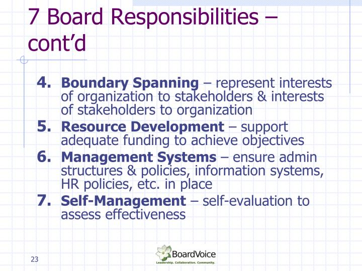 7 Board Responsibilities – cont'd