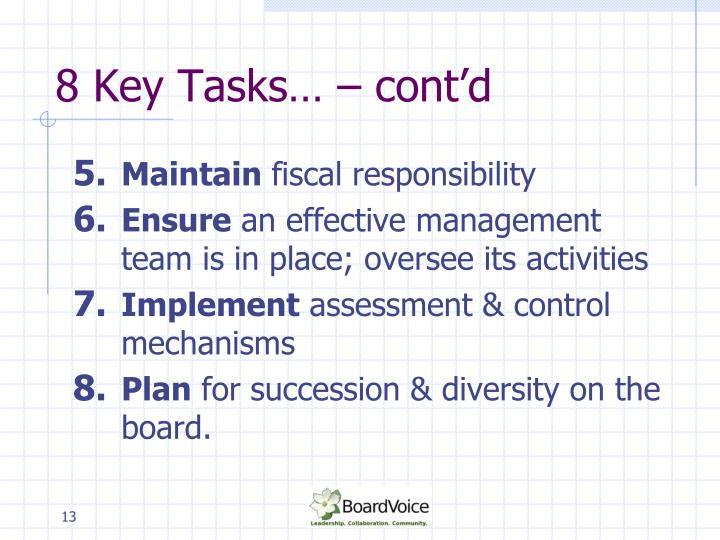 8 Key Tasks… – cont'd
