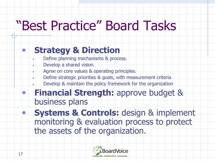 """Best Practice"" Board Tasks"