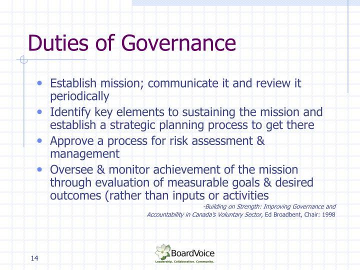 Duties of Governance