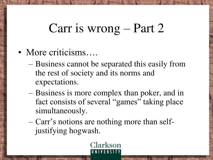 Carr is wrong – Part 2