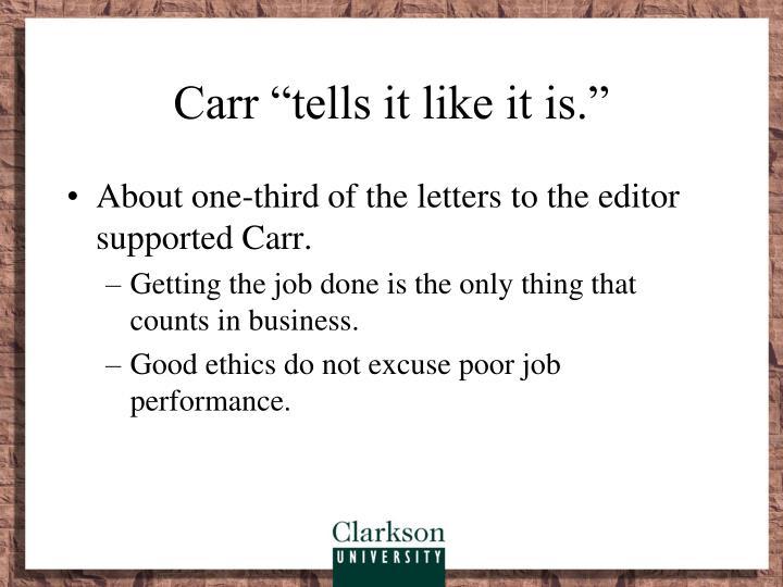"""Carr """"tells it like it is."""""""