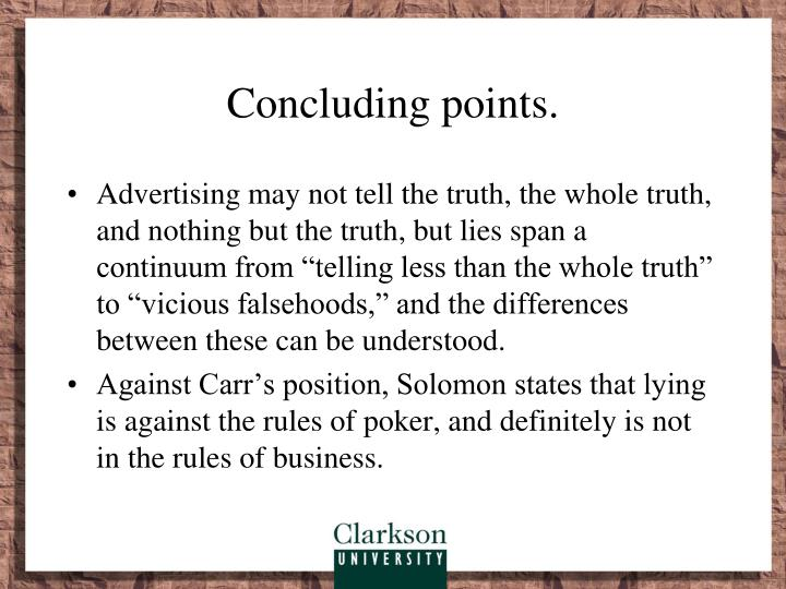 Concluding points.