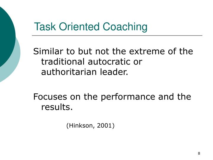Task Oriented Coaching