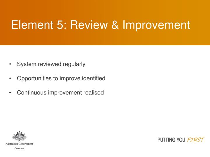 Element 5: Review & Improvement