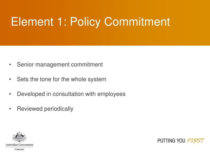 Element 1: Policy Commitment