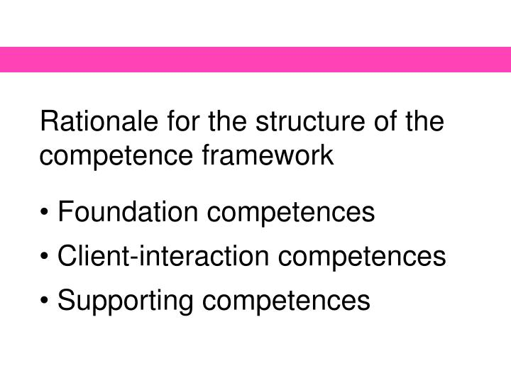 Rationale for the structure of the competence framework