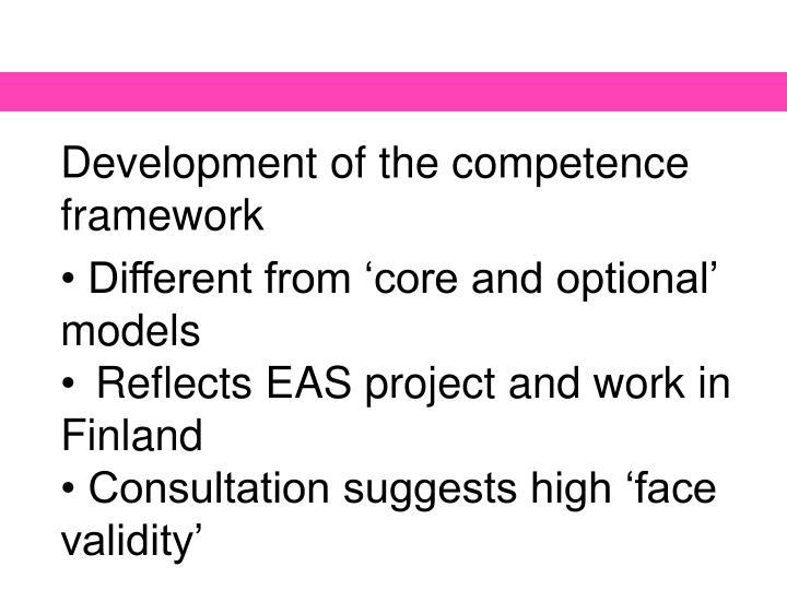 Development of the competence framework