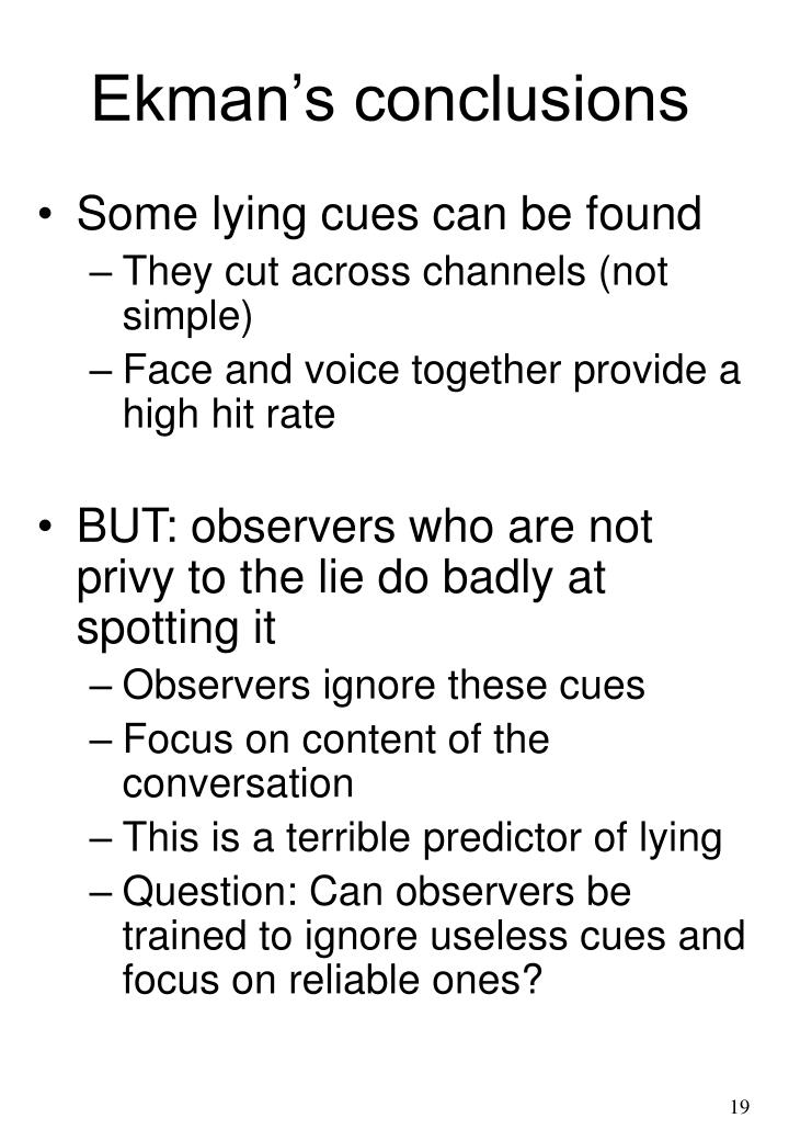 Ekman's conclusions