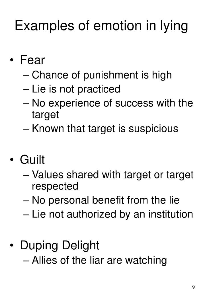 Examples of emotion in lying