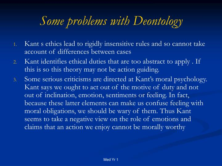 Some problems with Deontology