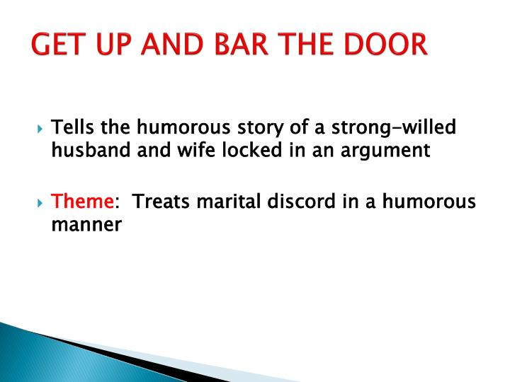 GET UP AND BAR THE DOOR