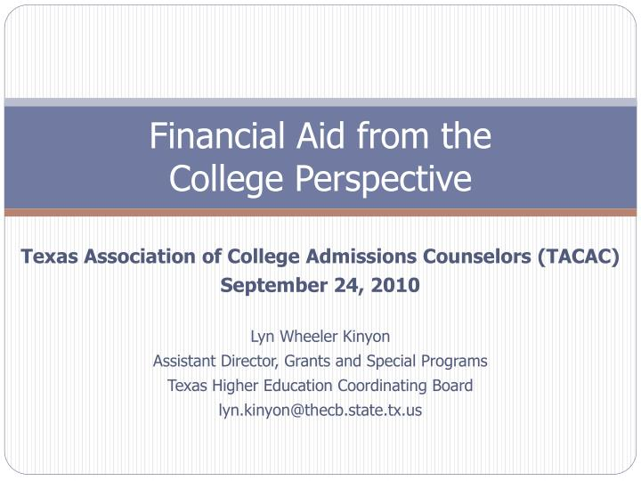 Financial Aid from the