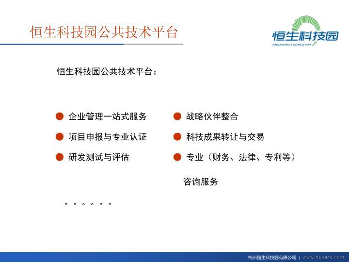 恒生科技园公共技术平台: