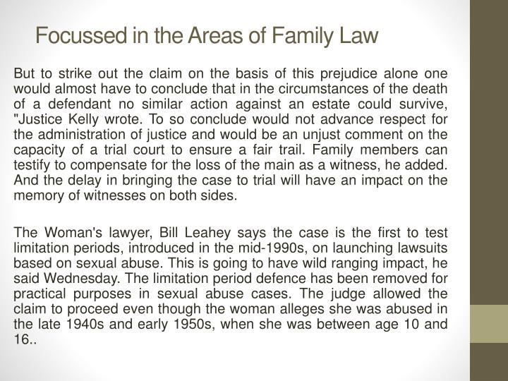 Focussed in the Areas of Family Law