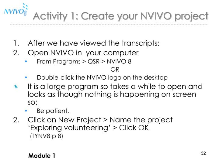 Activity 1: Create your NVIVO project
