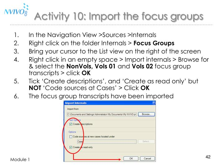 Activity 10: Import the focus groups
