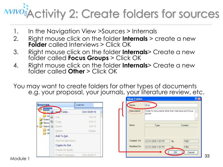 Activity 2: Create folders for sources