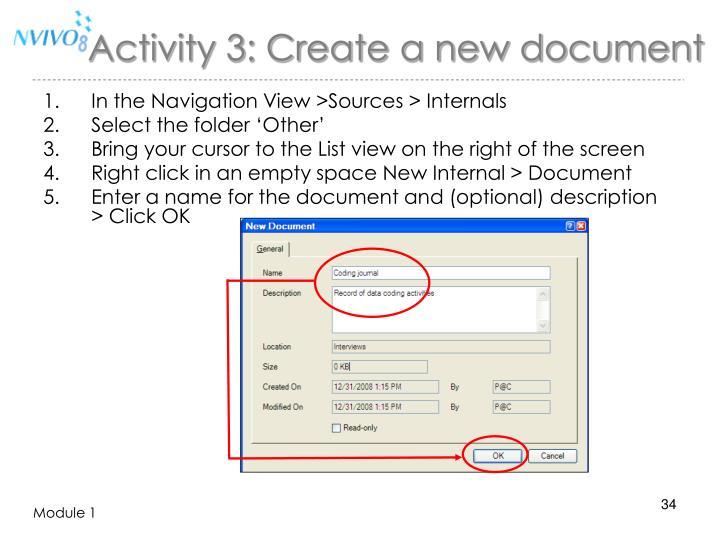 Activity 3: Create a new document