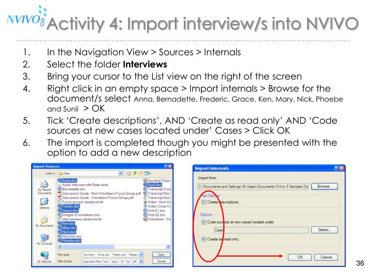 Activity 4: Import interview/s into NVIVO