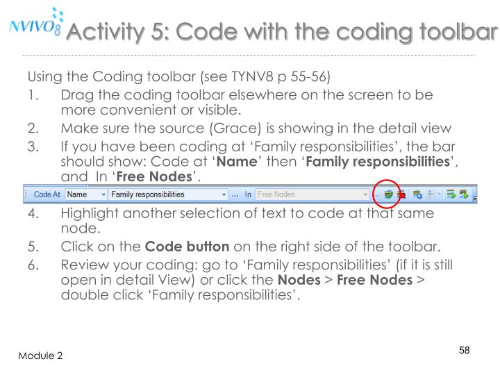 Activity 5: Code with the coding toolbar
