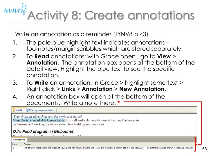 Activity 8: Create annotations