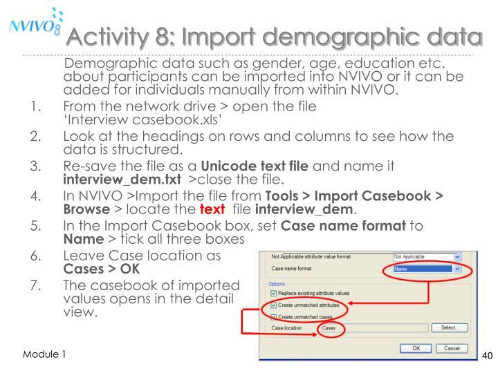 Activity 8: Import demographic data
