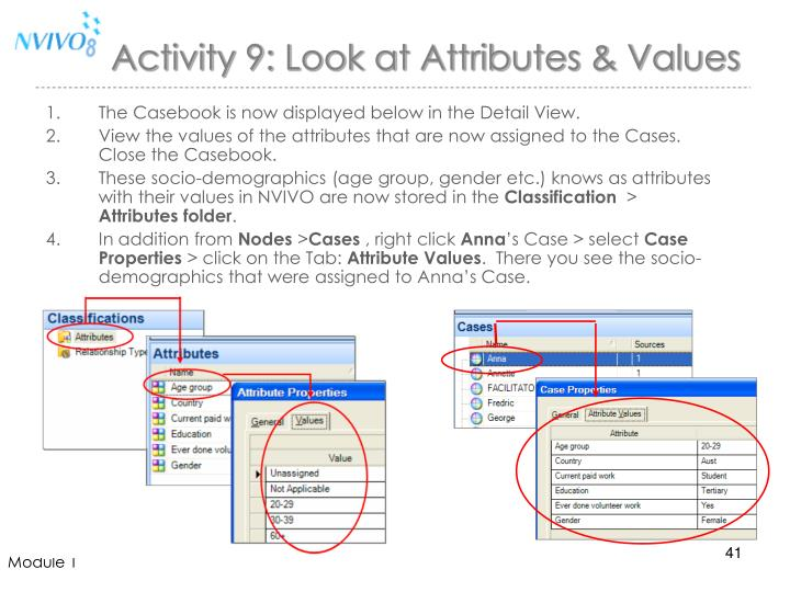 Activity 9: Look at Attributes & Values