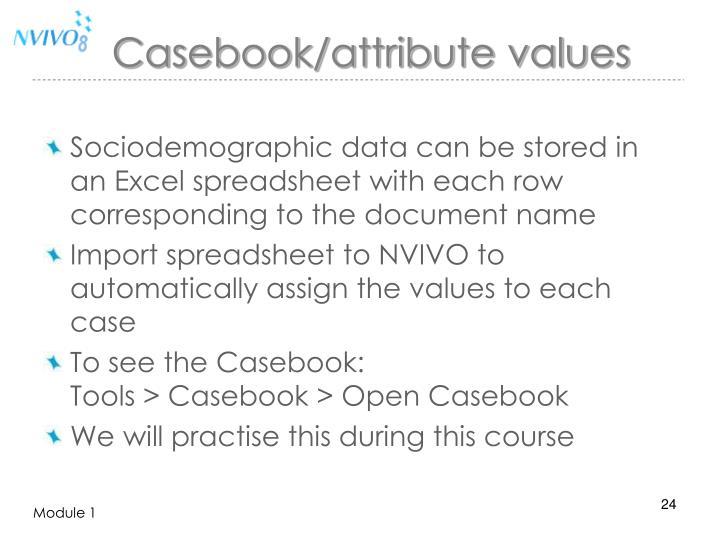 Casebook/attribute values