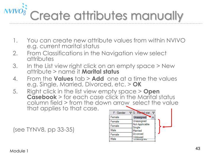 Create attributes manually