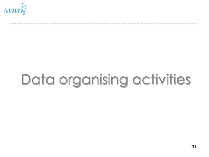 Data organising activities