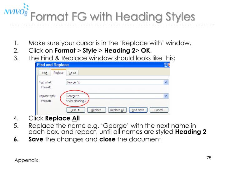 Format FG with Heading Styles