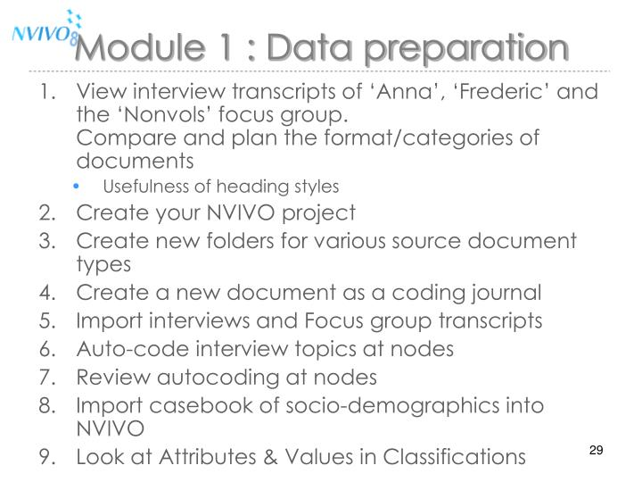 Module 1 : Data preparation