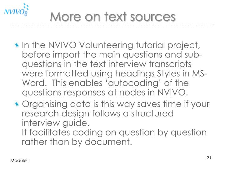 More on text sources