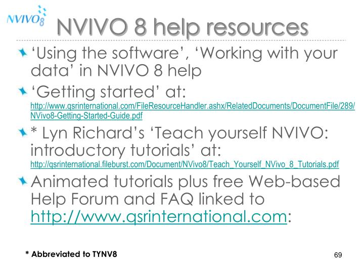 NVIVO 8 help resources