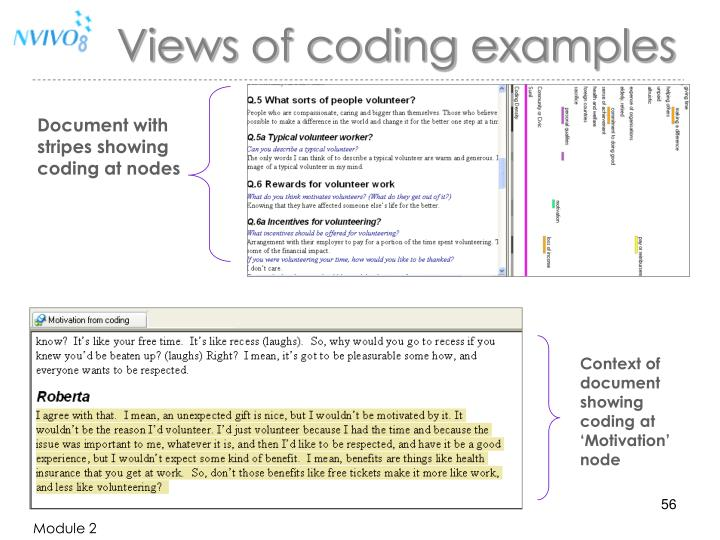 Document with stripes showing coding at nodes